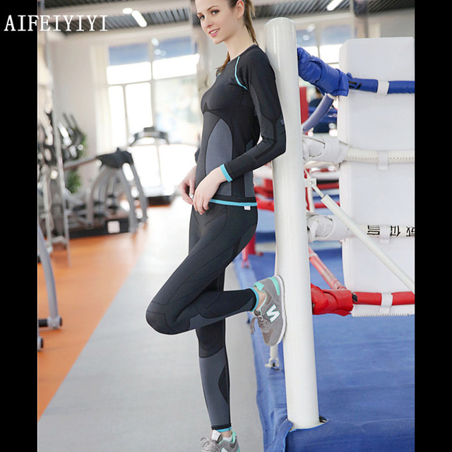 women's gym clothes with thermal underwear set stretch area