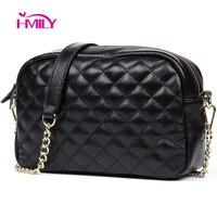 HMILY Genuine Leather Women Messenger Bag Plaid ladies Crossbody Bag Chain Trendy Cowskin Small Shopping Daily Shoulder Bag