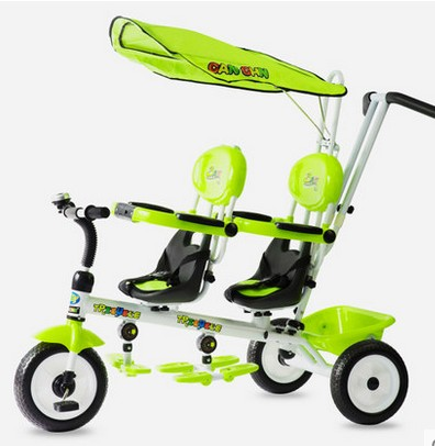Twin children's tricycle two-child two-seater children's baby boy cart twins stroller three wheel with two seater twin dolls kang pedal three wheeled cart with awning four in one function