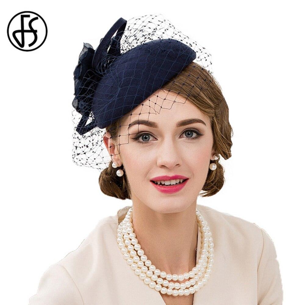 FS bleu 100% laine pilulier chapeaux voile feutre fascinateurs pour les femmes élégant mariage église Derby chapeau dames formel Fedora avec fleur