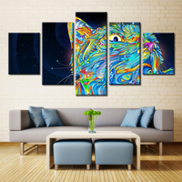Color Light Animals Cat Lion Tiger Pictures Print On Canvas For Room Decorations Fashion Animals Wall