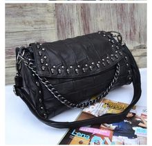 Lambskin leather Genuine leather women handbag trend wind baodan women shoulder diagonal portable skull rivet ladies Briefcase