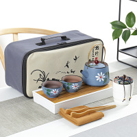 100% Handmade Portable Tea Set for 2 Person Crude Ceramic Travel Teaware Set Chinese Porcelain Kungfu Tea Set China Gift