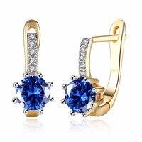 MEEKCAT Women S Jewelry Fashion Circle Earrings Charm Champagne Gold Round Crystal Inlay Hoop Earrings Shining