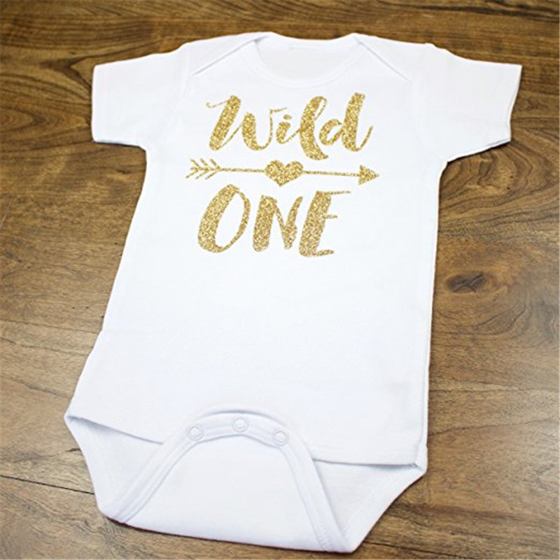 5cf38cffdf Aliexpress.com : Buy YSCULBUTOL Baby Wild One Gold Glitter Girls 1st  Birthday Clothing 0 12M short Sleeve Unisex Baby Bodysuit Free S from  Reliable ...
