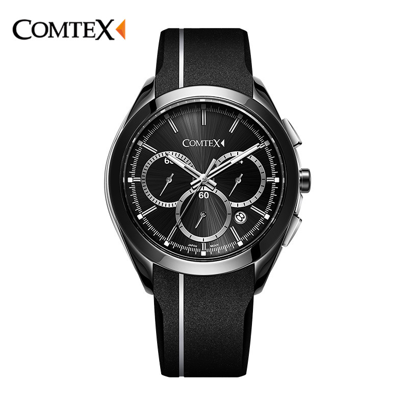 COMTEX Men Watch Top Brand Cool Silicone Rubber Strap Sports Watch Large Face Dial Analog Display Japan Quartz Calendar Clock women watch clock silicone rubber reloj jelly blue floral quartz analog sports flower casual wrist watch top brand dress watch