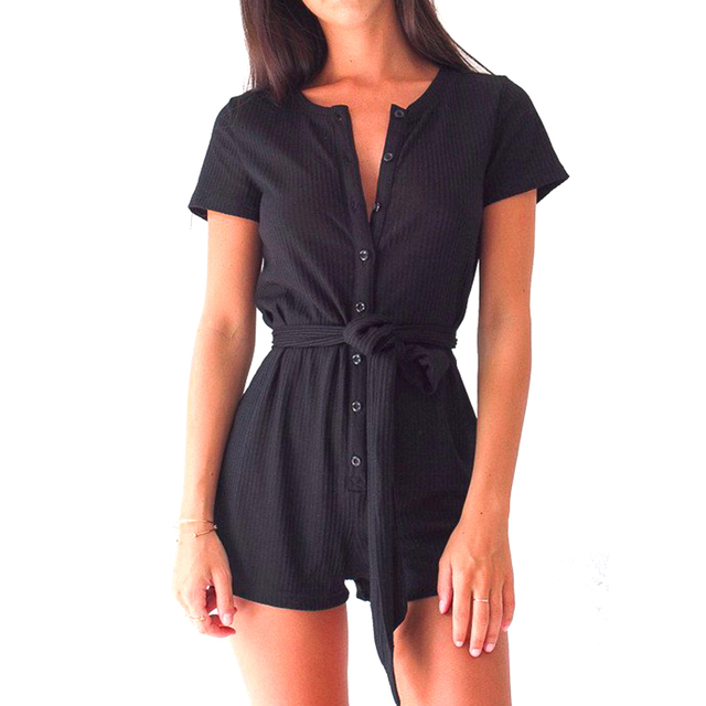 Sexy Short Rompers Women Jumpsuits 2017 Summer Short Sleeve V-neck Slim Overalls Bodysuits Button Combinaison female playsuits