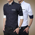 Korean style men shirt 2017 new autumn long-sleeve slim male commercial  casual shirt plus size formal fashion
