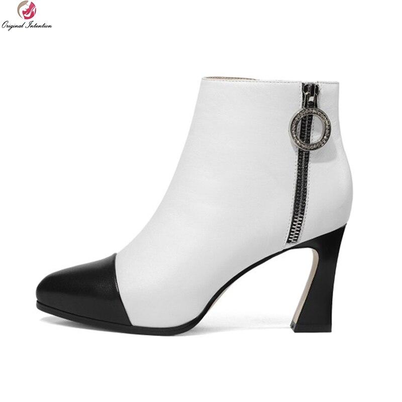 153c8542feee5b ef1520 Femmes 4 8 Ef1520 Initiale Taille Hauts White Cuir Femme Cheville  Bout En Us Noir Bottes Black Élégant Blanc Talons ...