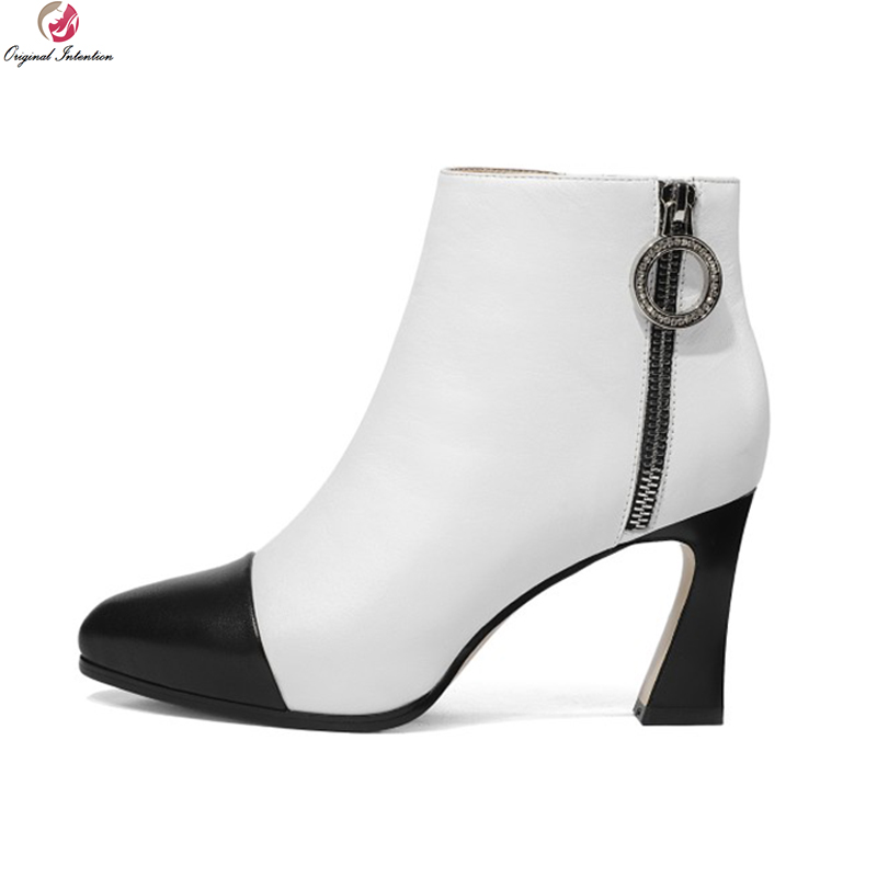 Original Intention Elegant Women Ankle Boots Genuine Leather Pointed Toe High Heels Boots Black White Shoes Woman US Size 4-8.5 mavirs brand women ankle boots 2018 pointed toe matt 4 75 inches chunky high heels black gray gold white shoes us size 5 15