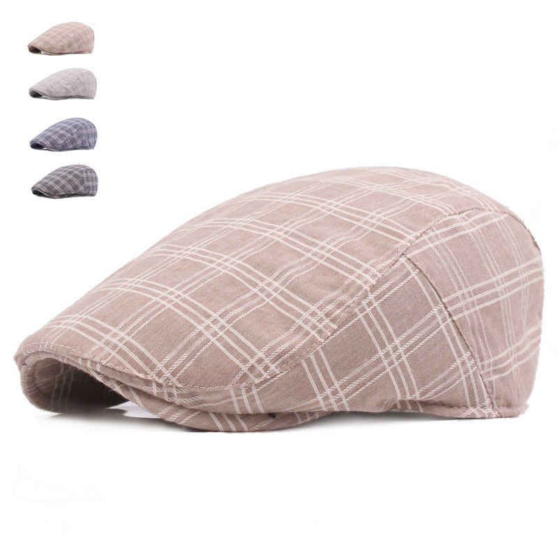 High Quality Casual Berets Hats New Unisex Summer Sports Berets Caps For Men Women Adjustable Brand Plaid Flat Sun Cap
