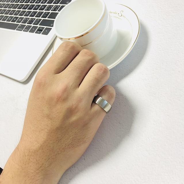 Купить мужское кольцо из нержавеющей стали простое серебряное 8 мм картинки