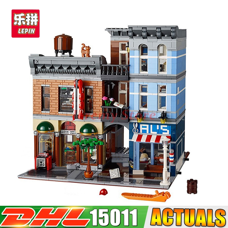 2018 LEPIN 15011 2418Pcs City Street Detective's Office House Model Building Blocks Educational Brick Toys Compatible 10246 loz mini diamond block world famous architecture financial center swfc shangha china city nanoblock model brick educational toys