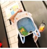 Clear Transparent Women Backpacks Cute Cat Ears Ita Bags School Pu Leather Schoolbags For Teenage Girls Bookbag Women Back Packs