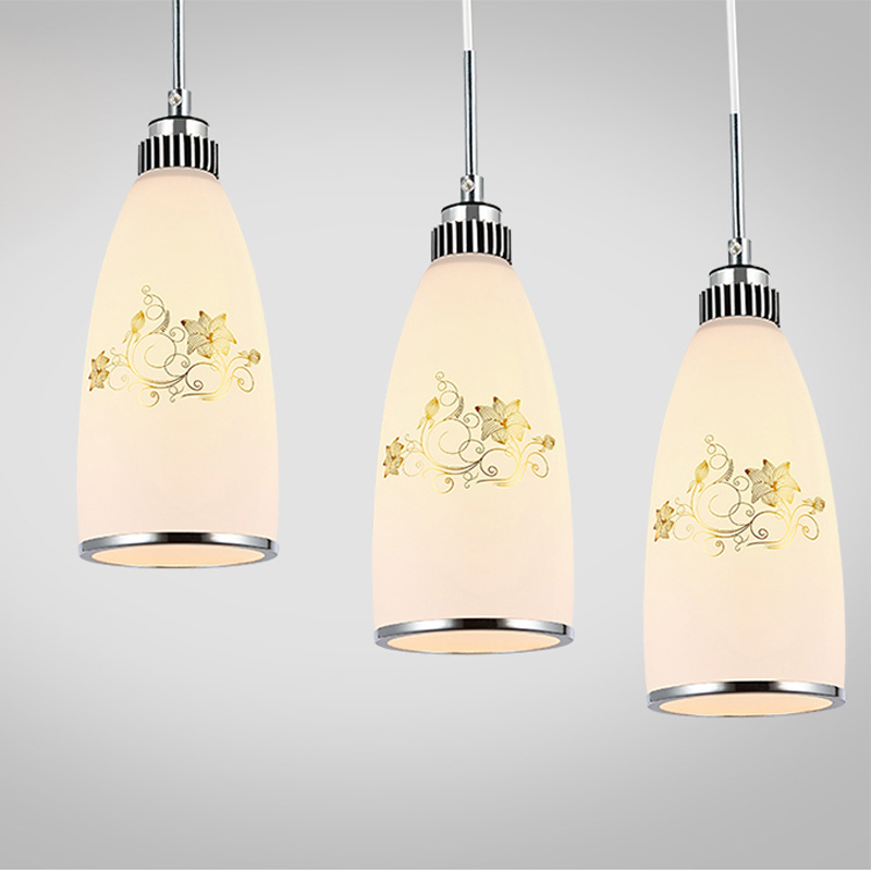ФОТО Modern Minimalist Glass Lampshade Chandelier Fixture E27 Bulb Creative Dining Room Bedroom Home Decoration Hanging Light PL564