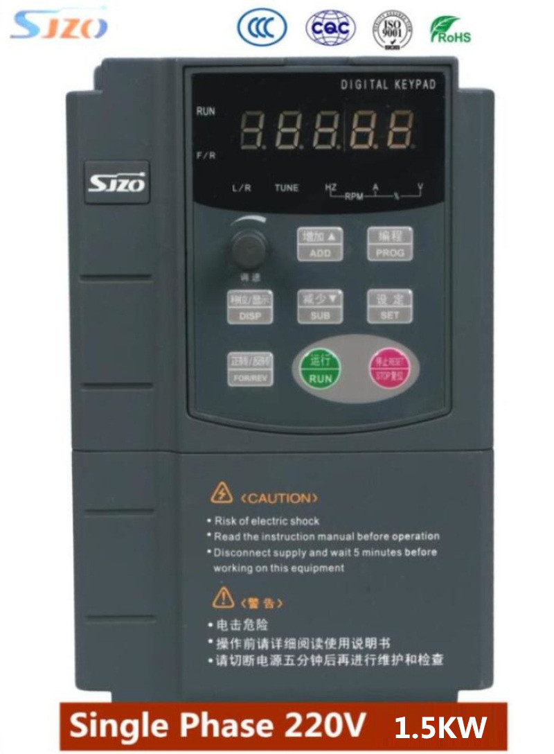 SJZO 511Series 1.5KW 1PH 220V Variable Frequency Inverter electric Panel VFD speed control Panel For Fan/Pump/Machine Tool Motor