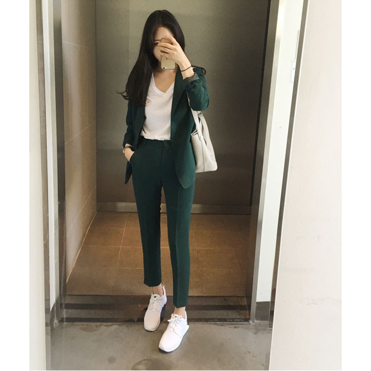 2019 Autumn Business Work Office Suit Women Slim Blazer And Pencil Pants Outfits Two Piece Set