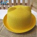 2016 Новый Японский Стиль Летнего Солнца Шляпы Для Детей Девушки Прекрасный конфеты Цвета Кошка Ухо Соломенная Шляпа Открытый Пляж Шляпа Кости Панама шляпа