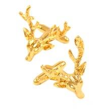 Golden Christmas Deer Head Shirt Cufflinks Jewelry Men  Women Lucky Metal Sleeve Nails Novelty Cufflinks Designer Brand