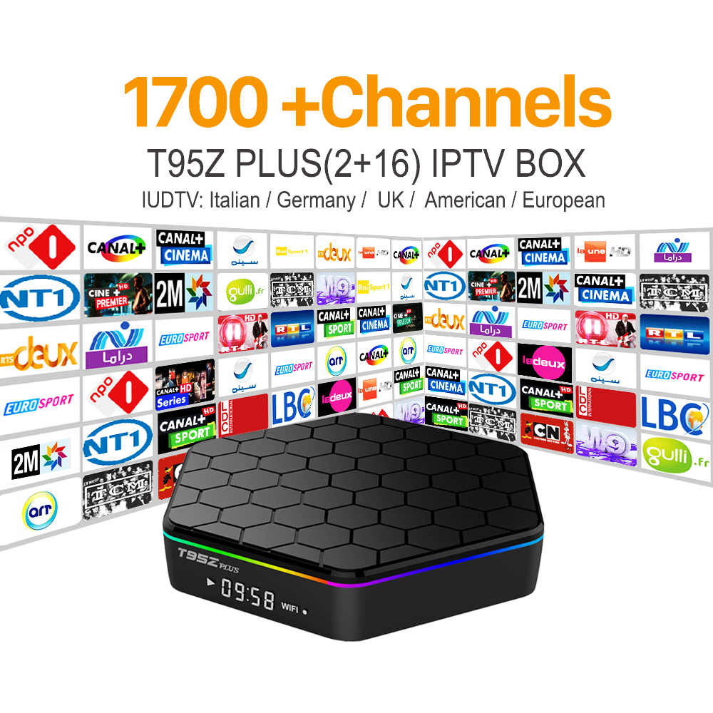 Octa Core Android Arabic IPTV BOX T95ZPLUS free1700 Europe Arabic IPTV Channels S912 2GB/16GB TV Box WIFI H265 Media Player