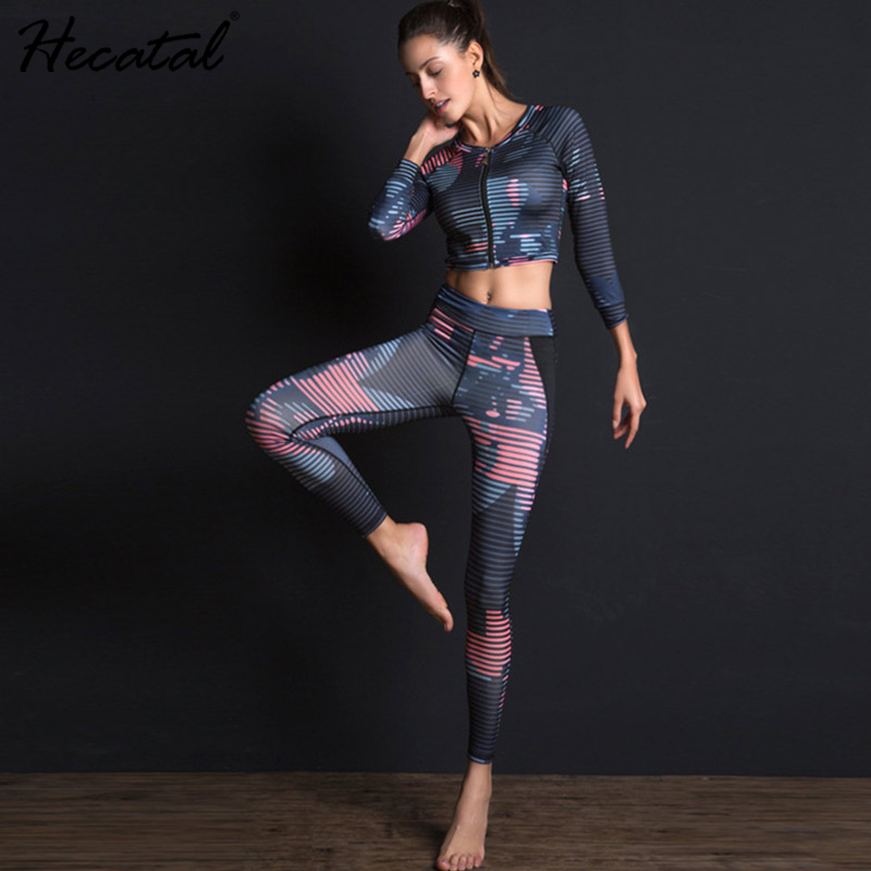 Women Sports Set For Fitness Yoga Running Gym Sports Bra Tops Leggings High Stretch Yoga Suits Quick Dry Printed Yoga Sets