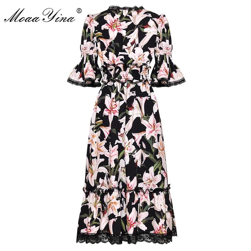MoaaYina ファッションデザイナー滑走路ドレス春夏の女性のドレス V ネックユリ花柄エレガントなドレス  グループ上の レディース衣服 からの ドレス の中 2