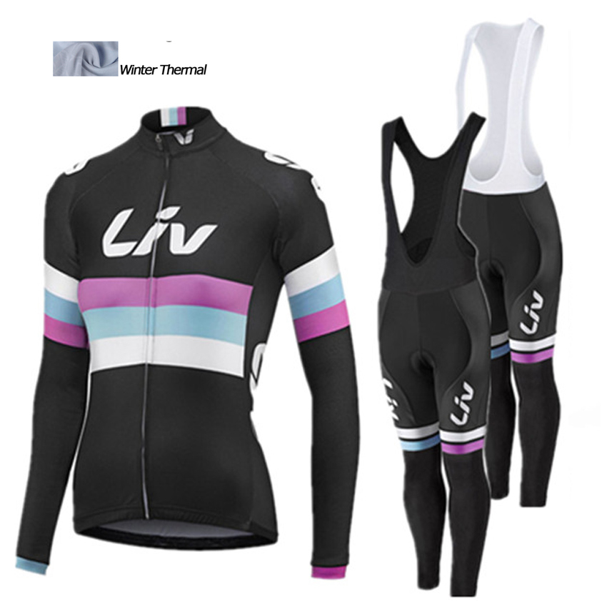Liv 2016 Women Cycling jersey long winter thermal fleece bicycle mtb bike ropa ciclismo invierno mujer cycling clothing
