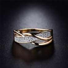 Rings for Women Valentine Present Fashion Spiral CZ Crystal Gold-Color Mid Ring