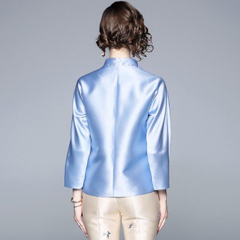 Manteau La bleu Nouvelle Style D'hiver Manteaux Lâche Femmes Veste Beige Rétro Plus Broderie Automne Chinois Printemps Sergé 2018 Xl Taille Solide Court Fleur yNnOvP0m8w