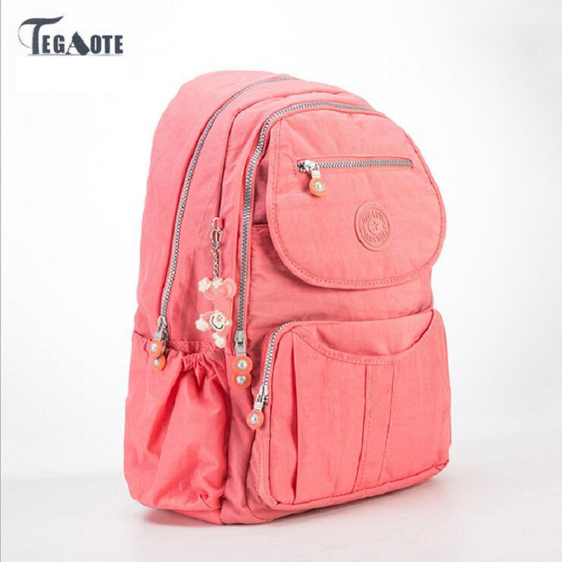 TEGAOTE 2018 School Backpack for Teenage Girls Nylon Women Backpack Solid Famous Casual Female Laptop Bagpack Mochila Feminine tegaote nylon waterproof school backpack for girls feminina mochila mujer backpack female casual multifunction women laptop bag