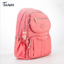 TEGAOTE 2019 School Backpack for Teenage Girls Nylon Women Backpack Solid Famous Casual Female Laptop Bagpack Mochila Feminine(China)