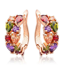 Trenty Colorful Crystal Zircon Stud Earrings Fashionable Rose Gold Earrings Fashion Jewelry Gifts For Friend