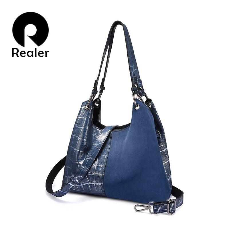 Realer women handbag luxury genuine leather Patchwork pattern cross body shoulder bag female messenger bag high