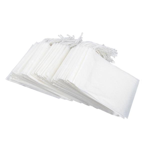 100Pcs/Set Disposable String Drawstring Empty Heat Seal Filter Paper Tea Bag 5X6CM E2S
