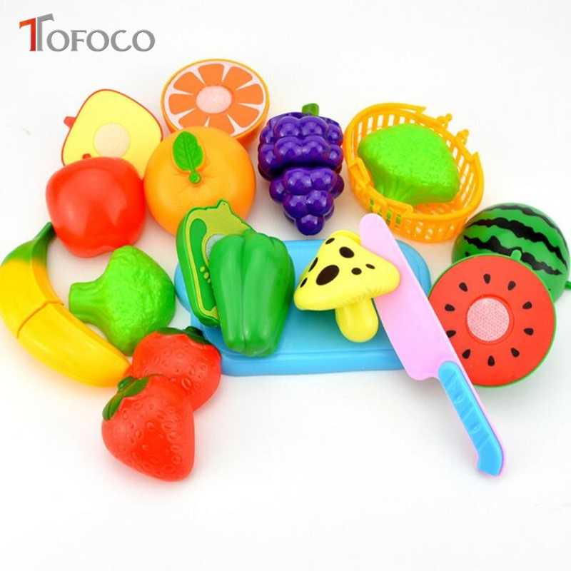 TOFOCO 2017 New 12/18/23pcs Plastic Model Fruit Vegetable Cutting Kitchen Toys For Kids Play Educational Toy Baby Unisex Gifts