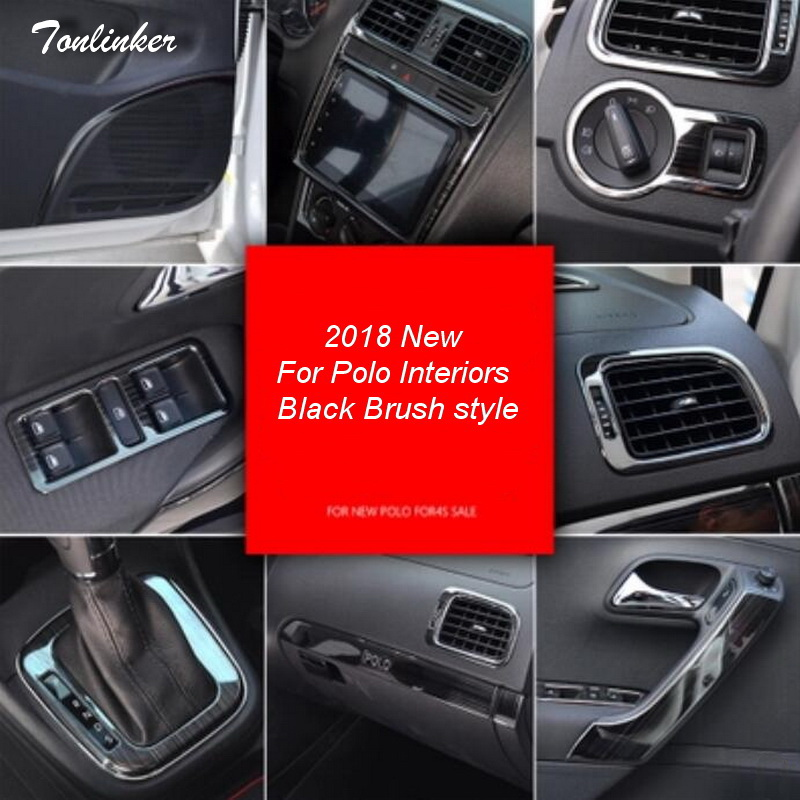 Tonlinker Cover Stickers For VW Volkswagen Polo 2011-17 Car Styling 1/4PCS Stainless Steel Interior Mouldings Cover Case Sticker