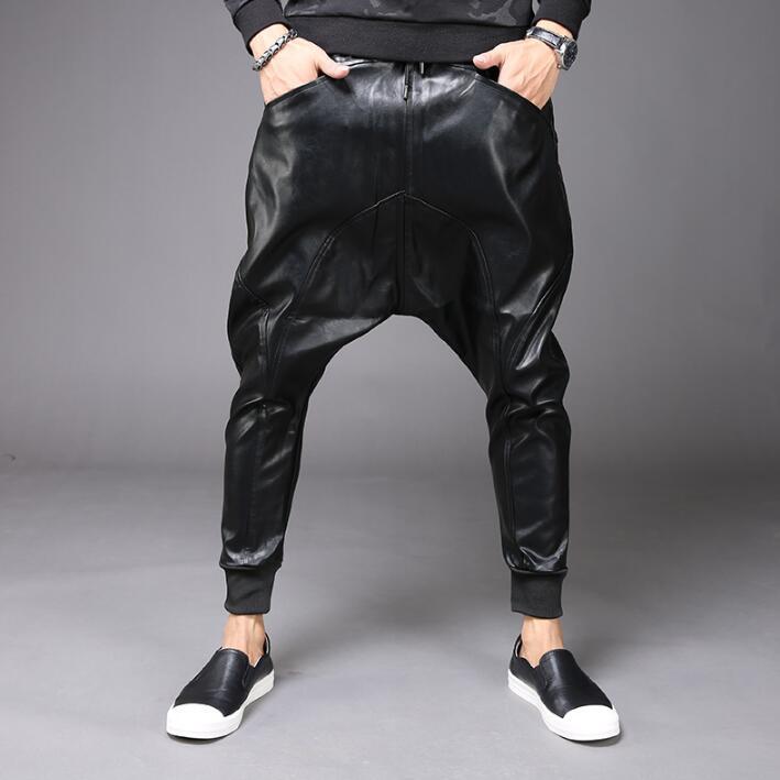 Autumn winter fashion personality leather harem pants mens trousers pantalones hombre cargo feet pants for men pantalon homme