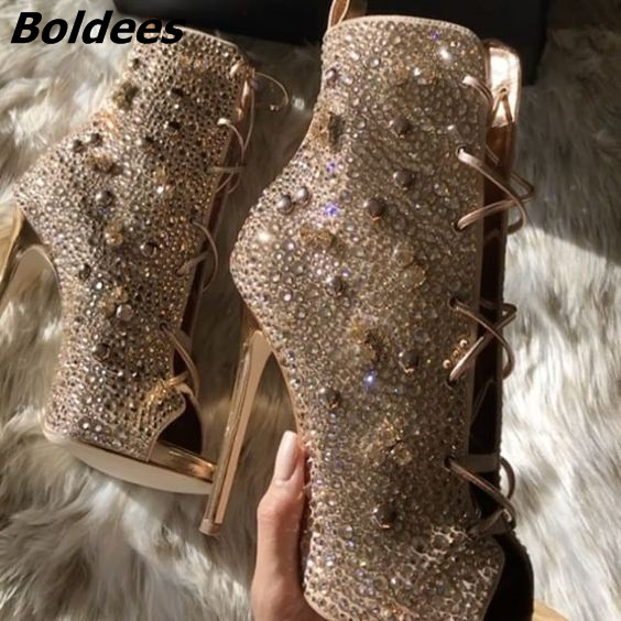 Chic Golden Women Bling Bling Crystal Stiletto Heel Ankle Boots Glittering Peep Toe Lace Up Dress Sandal Booties New Arrival