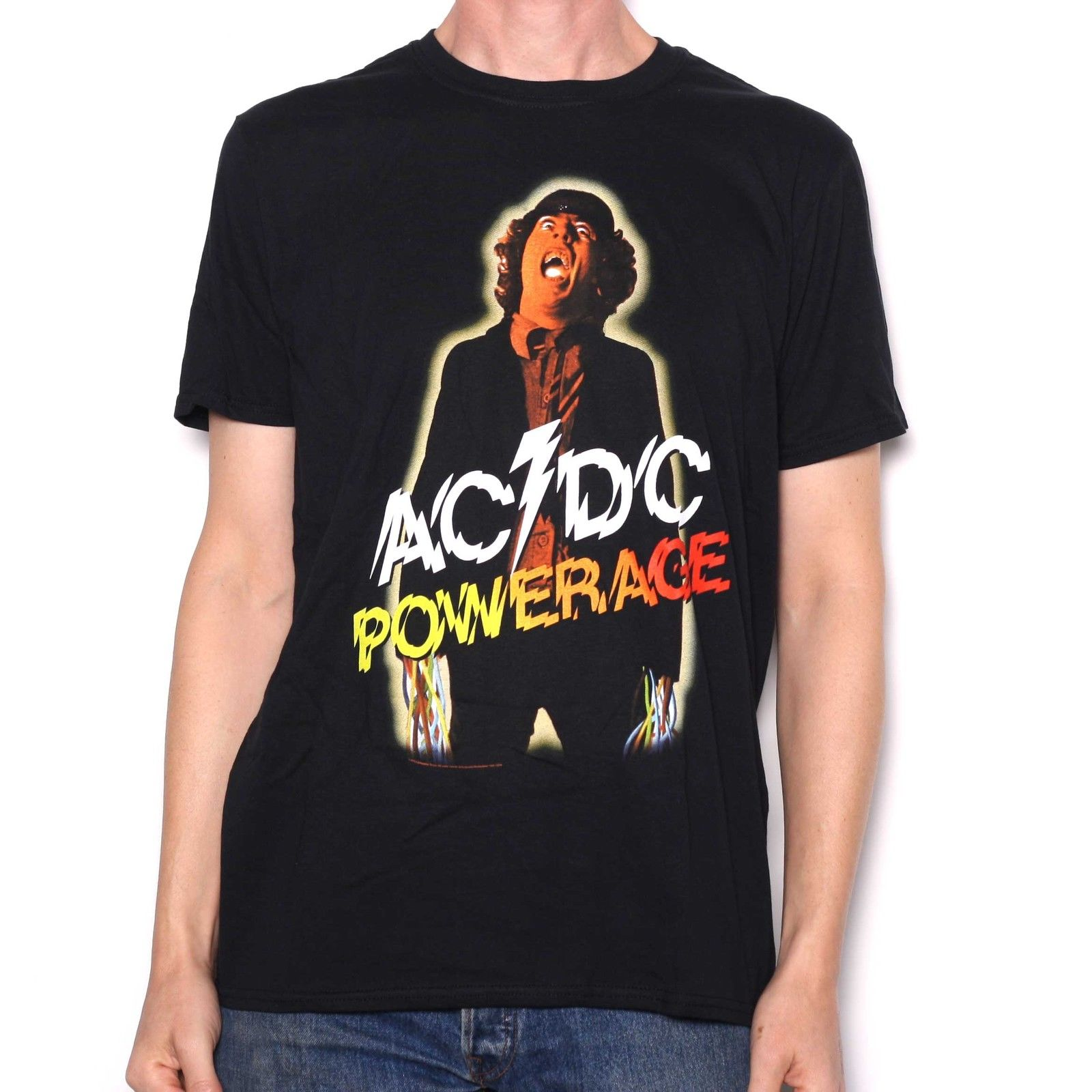 AC/DC T Shirt - Powerage Black 100% Official Fully Licensed AC/DC Merchandise New Man Design T-Shirt Print Black Style Top Tee
