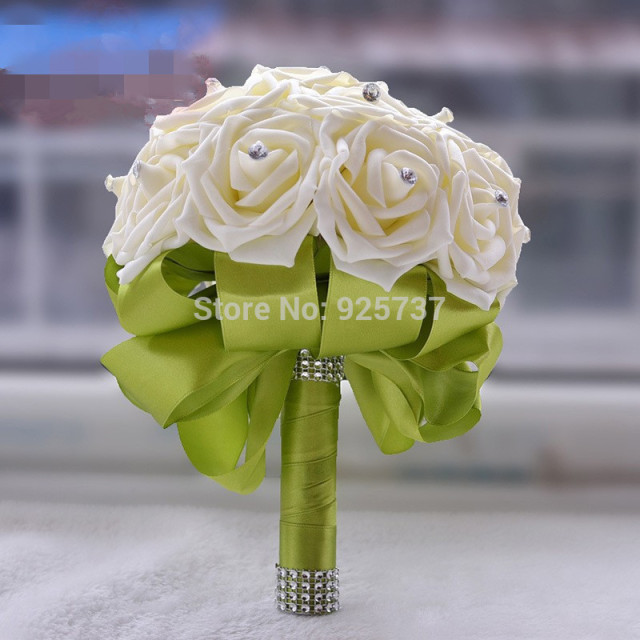 elegant bridesmaid flower wedding bouquet artificial buque de noivas handmade rose crystal wedding bouquets for party decoration