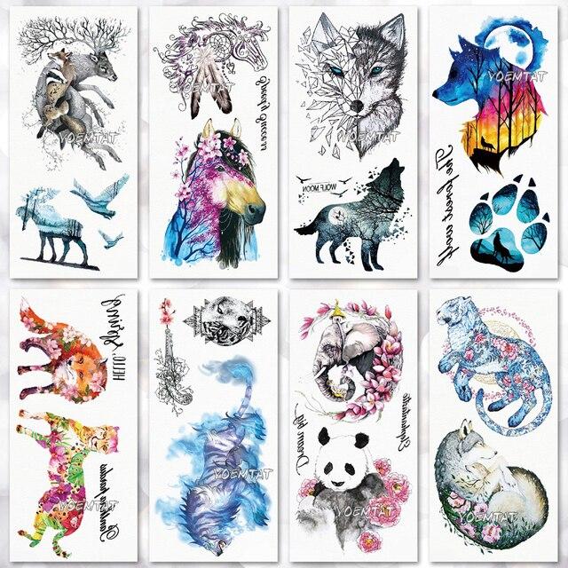 Водонепроницаемый Временные татуировки лесной медведь волк панды, лисы Tatto flash tatoo поддельные татуировки для девочек Женщины Мужчины малыш 7
