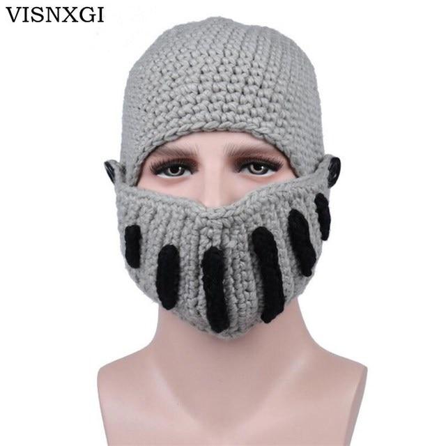 25fec2a408a VISNXGI High Quality Handmade Knitting Women Men Balaclava Octopus Roman  Knight Beard Hat Crochet Beanies Hat Winter Mask Cap
