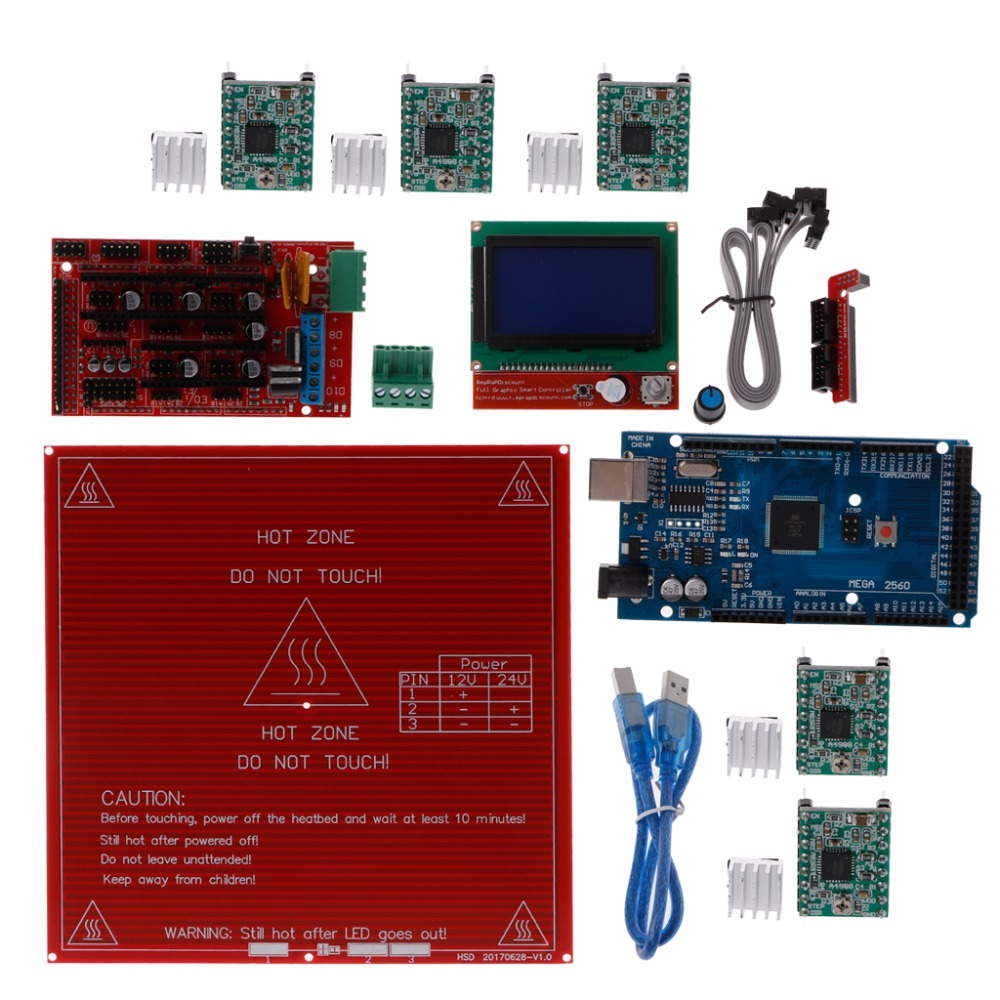 Reprap Ramps 1.4 kit+Mega 2560+Heatbed mk2b+12864 LCD Controller+DRV4988+ Mechanical Endstop+Cables For 3D Printer Parts C26 elecfreaks opto endstop for arduino 3d printer reprap ramps black white