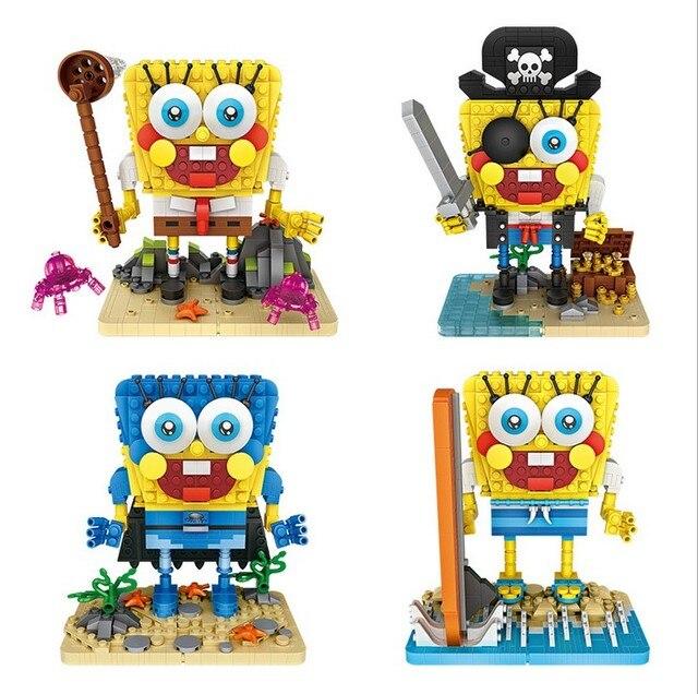 493pcs Spongebob Mini Blocks Moc Building Figurine Modular Diy Cute