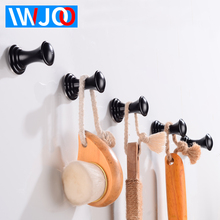 лучшая цена Robe Hook Wall Mounted Bathroom Towel Hook Black Aluminum Reatroom Clothes Coat Hanger Hooks Single Decorative Door Rack
