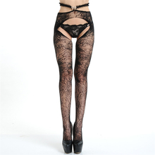 Sexy women black elastic lace Top Nylon pantyhose open crotch lingerie Fishnet sexy tights for Stockings female erotic hot