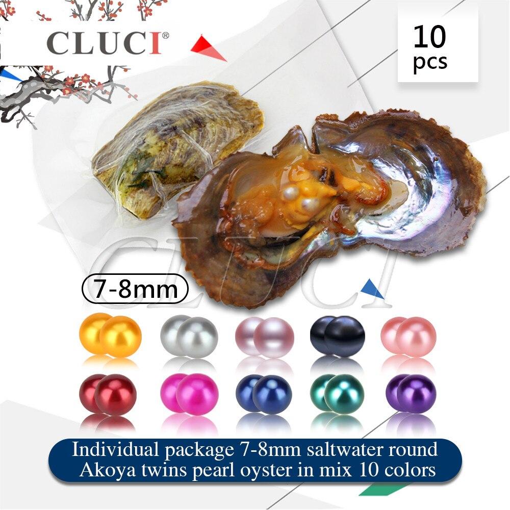 CLUCI 10 pièces Jumeaux Perles dans Les Huîtres 7-8mm Qualité Akoya Perles Rondes En Forme D'eau Salée Akoya Huîtres Perlières avec Perle