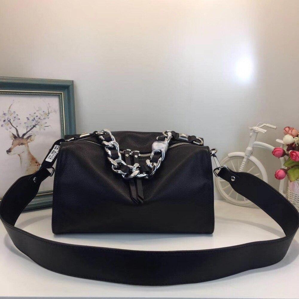 2017 novos chegada mulheres couro genuíno cinta larga ombro mensageiro bolsa retro famoso designer da marca Boston saco Europeu