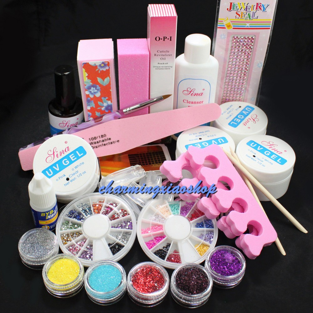 Pro Gel Nails Set Full Acrylic Glitter Powder Glue French Nail Art UV Gel Tips Kit Set Manicure Set Set To Build Gel Nails 34211