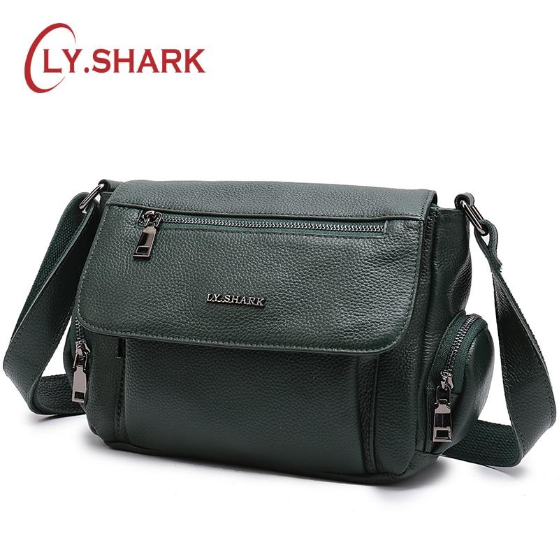 LY.SHARK Green Genuine Leather Bag Women's Handbags Female Crossbody Shoulder Bag Women Messenger Bags Ladies' Tote Small Brand цена
